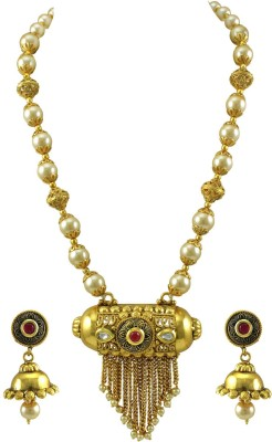 Orniza Brass Jewel Set(Red) at flipkart