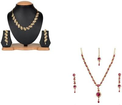 Rashi Jewellery Alloy Jewel Set(Gold, Pink)