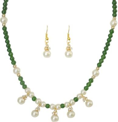 Classique Designer Jewellery Alloy Jewel Set(White, Green)