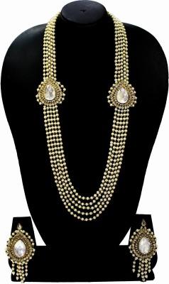 Zaveri Pearls Zinc Jewel Set(White, Gold) at flipkart