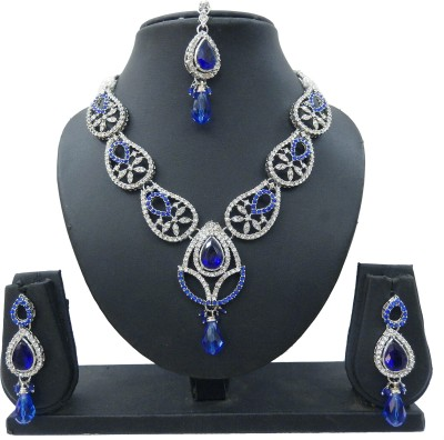Shree Bhawani Art Jewellery Alloy Jewel Set(Blue)