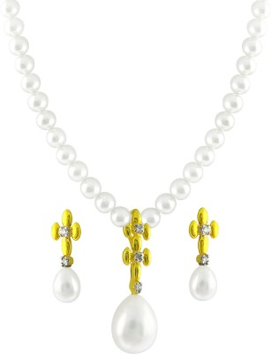 JPearls Yellow Gold 18kt Pearl Earring & Necklace Set available at Flipkart for Rs.25350