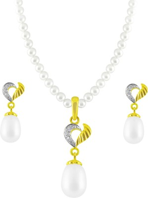 JPearls Yellow Gold 18kt Pearl Earring & Necklace Set available at Flipkart for Rs.35300