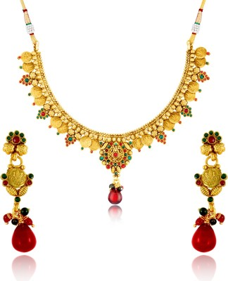 Donna Alloy Jewel Set(Gold, Red, Green) at flipkart