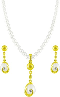 JPearls Yellow Gold 18kt Pearl Earring & Necklace Set available at Flipkart for Rs.48974