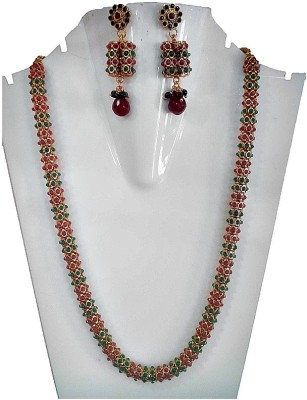 Silver Lines Copper Jewel Set(Red, Green)