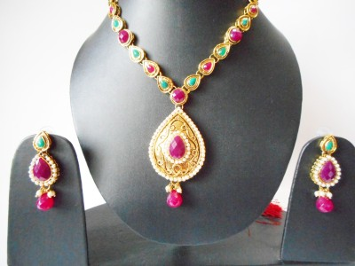 Neelam Fashions And Accessories Copper, Copper Jewel Set(Red, Green, Gold)