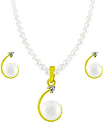 JPearls Yellow Gold 18kt Pearl Earring & Necklace Set available at Flipkart for Rs.39974