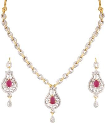 Heena Jewellery Brass, Alloy Jewel Set(Red, White)