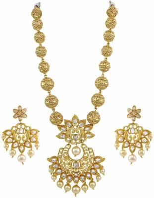 Orniza Brass Jewel Set(White) at flipkart