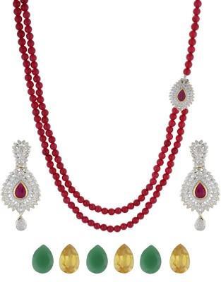 Chaahat Fashion Jewellery Copper Jewel Set(Maroon)