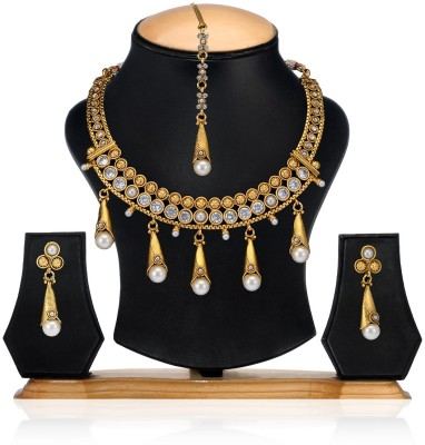Aamoye Copper Jewel Set(Gold, White) at flipkart