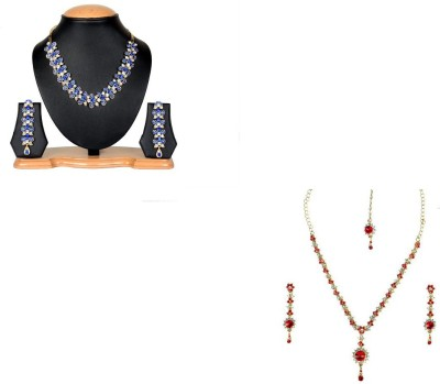 Rashi Jewellery Alloy Jewel Set(Blue, Red)