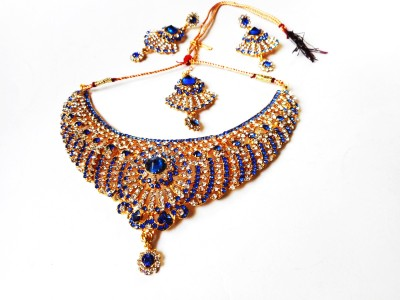 Neelam Fashions And Accessories Brass, Copper Jewel Set(Blue, Blue, Gold)