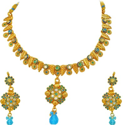 Surat Diamond Metal Jewel Set(Blue, Gold) at flipkart