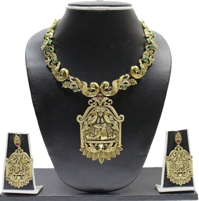 Zaveri Pearls Alloy Jewel Set(Green, Red, Gold) at flipkart