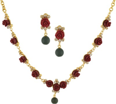 Chaahat Fashion Jewellery Copper Jewel Set(Maroon)