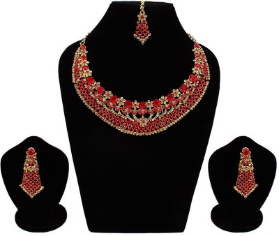 Jewels Guru Alloy Jewel Set(Red, Gold) at flipkart