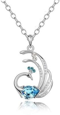 Gajraula Crafts Dancing Peacock Crystal Alloy Pendant