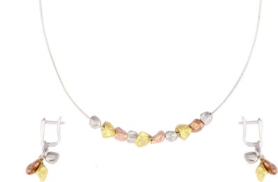 Gurudev Diamonds Silver Jewel Set(Yellow, Pink, White) at flipkart