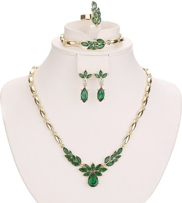 FreshMe Fashion Jewellery Zinc, Alloy Jewel Set(Gold, Green)