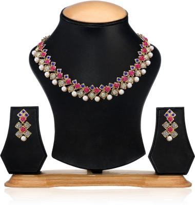 Zaveri Pearls Zinc Jewel Set(Pink, Blue, White) at flipkart