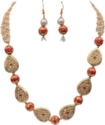Jaipur Fashion Jewellery Brass, Resin Jewel Set(Red, Gold)