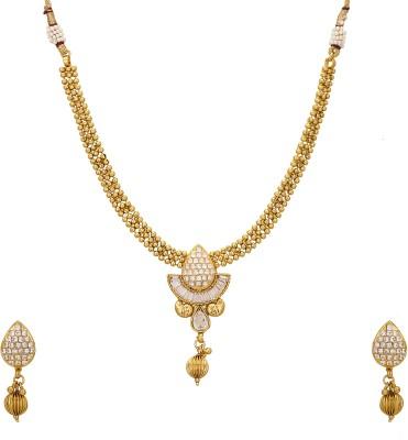 Adwitiya Collection Copper Jewel Set(Gold) at flipkart