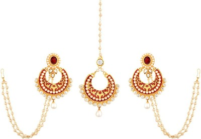 Reeva Fashion Jewellery Alloy Jewel Set(Maroon)