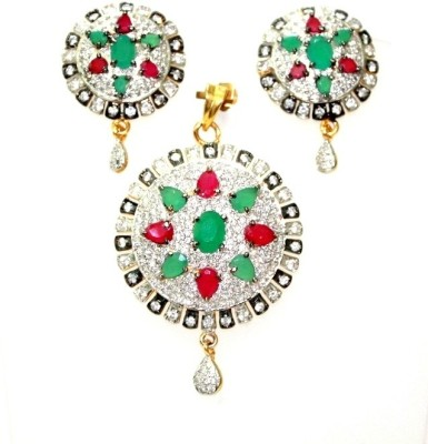 Signature Collection Jewelry Alloy Jewel Set(Red, White, Green) at flipkart
