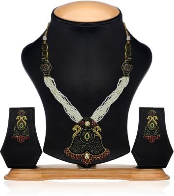 Zaveri Pearls Zinc Jewel Set(White, Red, Black) at flipkart