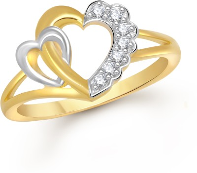 VK Jewels Dual Heart Alloy Cubic Zirconia Yellow Gold Ring at flipkart