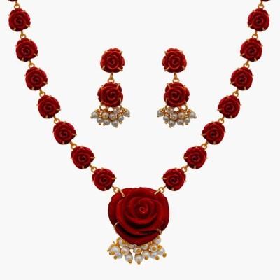 Nisa Pearls & Jewellery Alloy Jewel Set(Red, White)