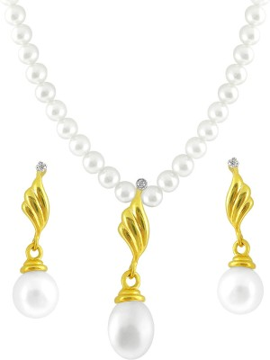 JPearls Yellow Gold 18kt Pearl Earring & Necklace Set available at Flipkart for Rs.31375