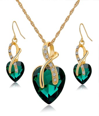 Hypernation Alloy Jewel Set(Green) at flipkart