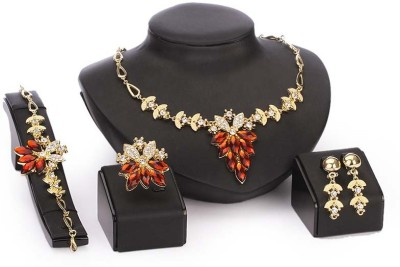 FreshMe Fashion Jewellery Zinc, Alloy Jewel Set(Gold, Brown)