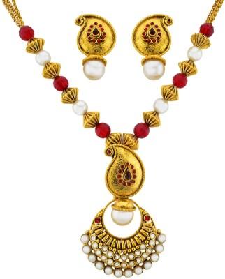 The Art Jewellery Brass Jewel Set(Red)