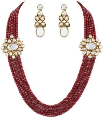 Karatcart Brass, Alloy Jewel Set(Gold, Red) at flipkart