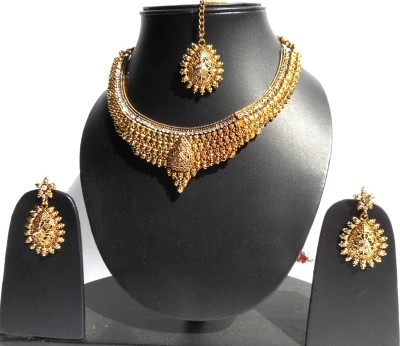 Neelam Fashions And Accessories Copper, Brass Jewel Set(Gold, White)