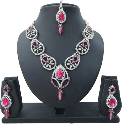 Shree Bhawani Art Jewellery Alloy Jewel Set(Pink)