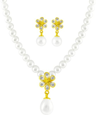 JPearls Yellow Gold 18kt Pearl Earring & Necklace Set available at Flipkart for Rs.28475
