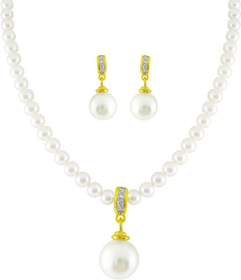 JPearls Yellow Gold 18kt Pearl Earring & Necklace Set available at Flipkart for Rs.30100