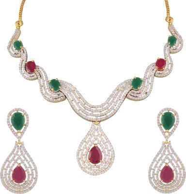 Heena Jewellery Brass, Alloy Jewel Set(White, Green, Red)