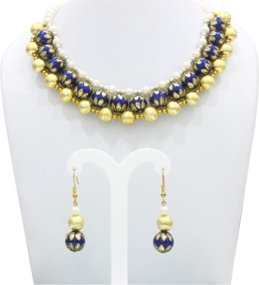 Eighth Fold Brass Jewel Set(White) at flipkart