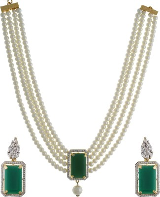Chaahat Fashion Jewellery Copper Jewel Set(White)