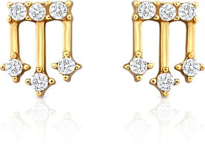 Oviya Enigmatic Rendition Crystal Alloy, Brass Stud Earring