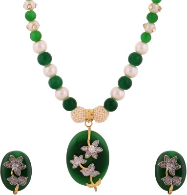 Kundaan Alloy Jewel Set(Green, White) at flipkart