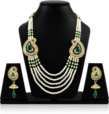 Jewels Guru Alloy Jewel Set(Green, Gold, White) at flipkart