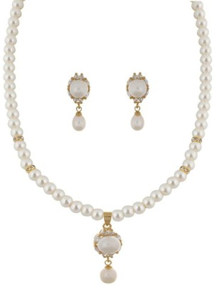 Classique Designer Jewellery Alloy Jewel Set(White)