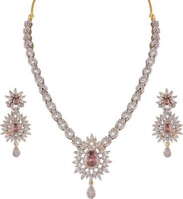 Heena Jewellery Brass, Alloy Jewel Set(Brown, White)